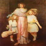 John White Alexander (1856-1915)  Mrs. Daniels with Two Children  Oil on canvas, 1913  Federal Reserve Board